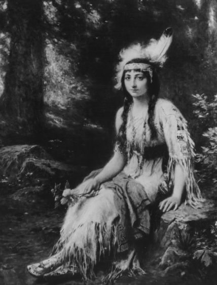 1614, Native American Princess Pocahontas (1595 - 1617) wearing traditional attire, at the time of her marriage to colonialist John Rolfe. Original Artwork: Painting by Jean Leon Gerome Ferris (Photo by Three Lions/Getty Images)